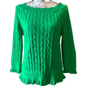 American Living cable wide neck ruffle sweater L